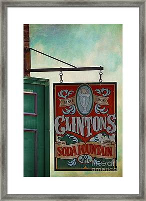 Old Clinton's Soda Fountain Sign Framed Print