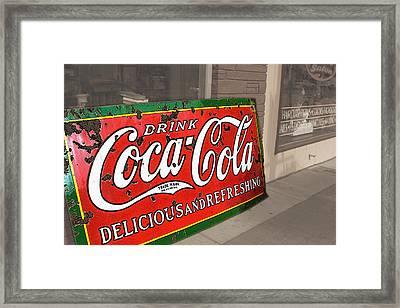 Old Coca Cola Sign Framed Print by Julie Magers Soulen