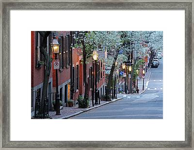 Old Colonial Brick Row Houses Of Beacon Hill Framed Print