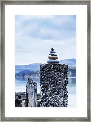 Old Concrete Jetty Posts Governors Bay Banks Peninsula New Zealand Framed Print by Colin and Linda McKie