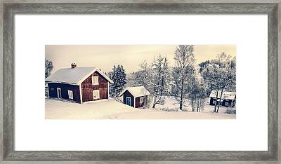 Old Cottages In A Snowy Rural Landscape Framed Print by Christian Lagereek