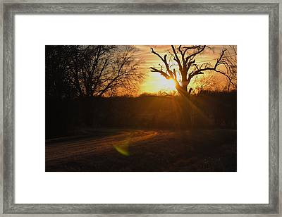 Old Country Road. Framed Print by Rachel Bazarow
