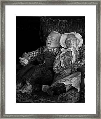 Old Couple Mannequins In Shop Window Display Framed Print