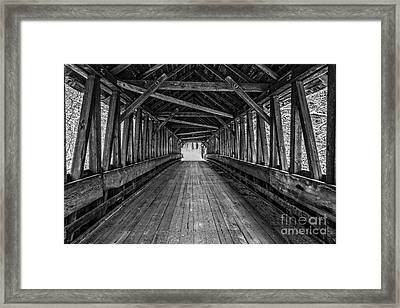 Old Covered Bridge Winter Interior Framed Print by Edward Fielding
