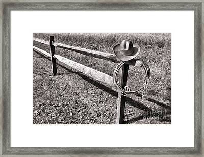 Old Cowboy Hat On Fence Framed Print