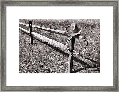 Old Cowboy Hat On Fence Framed Print by Olivier Le Queinec