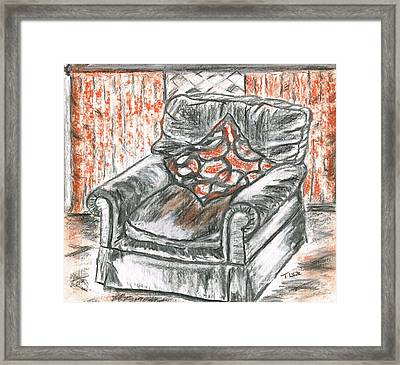 Framed Print featuring the drawing Old Cozy Chair by Teresa White