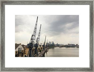 Old Cranes On The Dockside Framed Print by Ashley Cooper