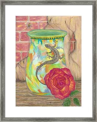 Old Crock And Rose Framed Print by Bertie Edwards