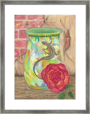 Old Crock And Rose Framed Print