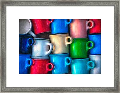Old Cups For Sale Framed Print by Brenda Bryant