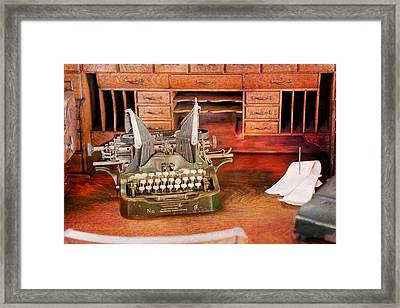 Old Desk With Type Writer Framed Print by Gunter Nezhoda