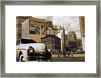 Old Detroit City View - Vintage Colored Framed Print