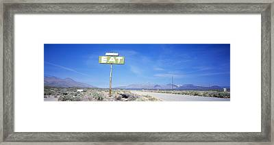Old Diner Sign, Highway 395 Framed Print by Panoramic Images