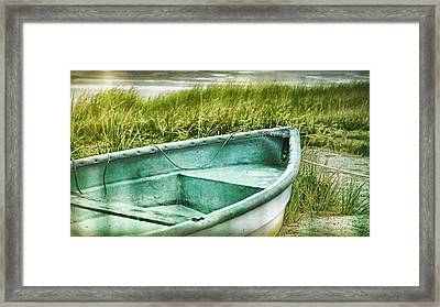 Old Dinghy On The Beach Cape Cod Ma Retro Feel Framed Print by Marianne Campolongo