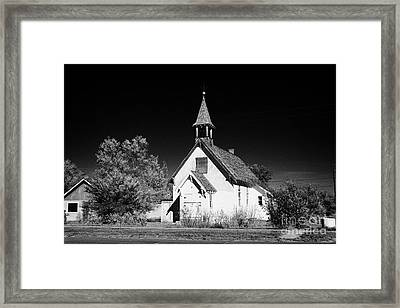 old disused abandoned small rural church bengough Saskatchewan Canada Framed Print