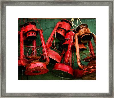 Old Dock Lanterns Framed Print by Timothy Bulone
