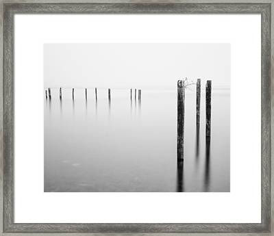 Old Dock Pilings - Puget Sound - Tacoma - Washington - January 2014 Framed Print