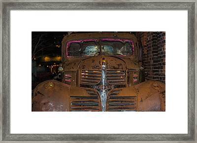 Old Dodge Truck In  Neon Framed Print