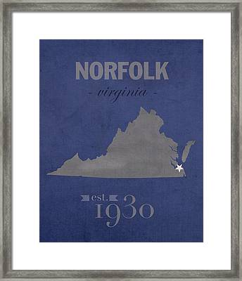 Old Dominion University Monarchs Norfolk Virginia College Town State Map Poster Series No 085 Framed Print