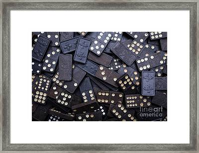 Old Dominos Piled Up Framed Print