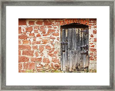 Framed Print featuring the photograph Old Door In A Stone Wall by Lincoln Rogers