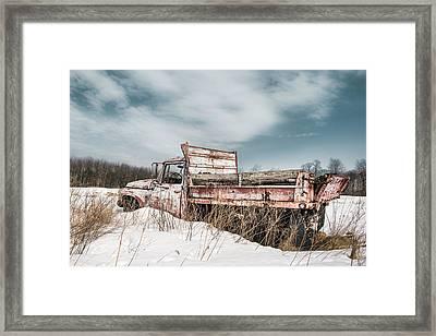 Old Dump Truck - Winter Landscape Framed Print