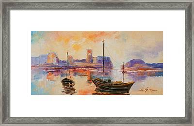 Old Dunbar Harbour Framed Print