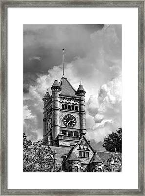 Old Dupage County Courthouse Clouds Black And White Framed Print