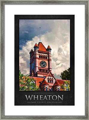 Old Dupage County Courthouse Clouds Poster Framed Print