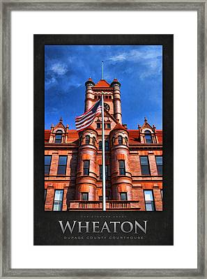 Old Dupage County Courthouse Flag Poster Framed Print