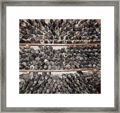 Old Dusty Wine Bottles Framed Print by Christina Rahm