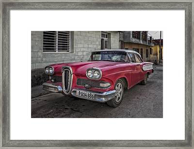 Old Edsel In Cuba Framed Print by Betty Wiley