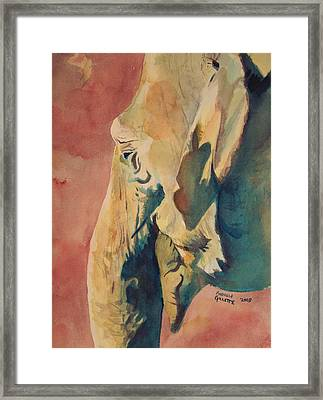 Framed Print featuring the painting Old Elephant by Andrew Gillette