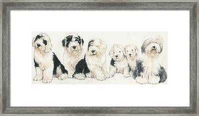 Old English Sheepdog Puppies Framed Print by Barbara Keith
