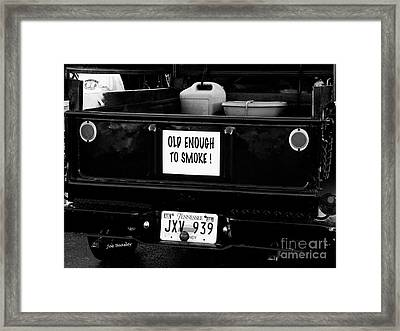 Old Enought To Smoke Framed Print by   Joe Beasley