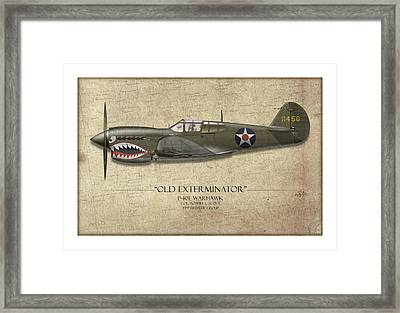 Old Exterminator P-40 Warhawk - Map Background Framed Print
