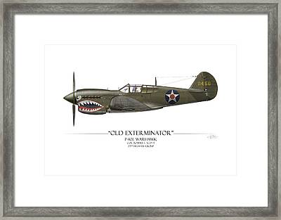 Old Exterminator P-40 Warhawk - White Background Framed Print