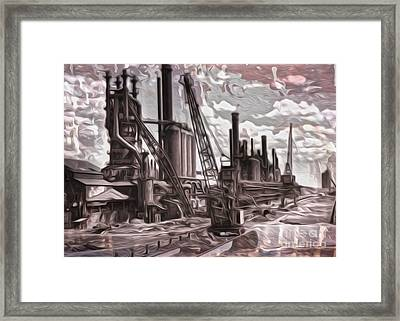 Framed Print featuring the painting Old Factory by Gregory Dyer