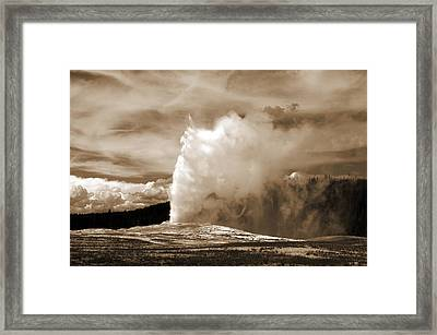 Old Faithful In Yellowstone Framed Print by Yue Wang