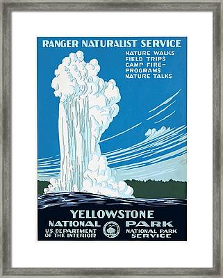 Old Faithful Yellowstone National Park Poster Ca 1938 Framed Print