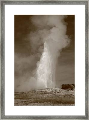 Old Faithful - Yellowstone Park In Sepia Framed Print by Frank Romeo