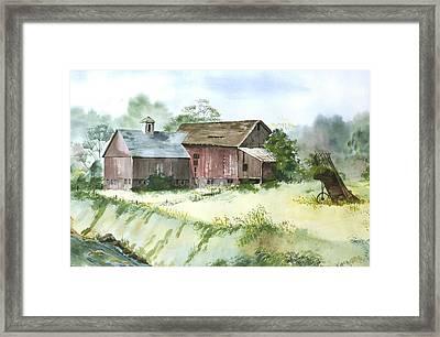 Old Farm Buildings Framed Print by Susan Crossman Buscho