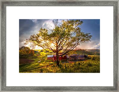 Old Farm In The Blue Ridge Mountains Framed Print by Debra and Dave Vanderlaan