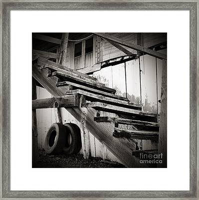 Old Farm Stairs Framed Print by Charmian Vistaunet