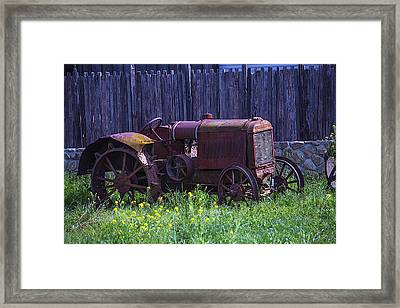 Old Farm Tractor Framed Print by Garry Gay