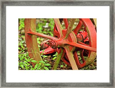 Old Farm Tractor Wheel Framed Print