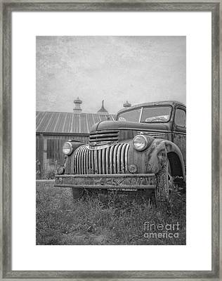 Old Farm Truck Out By The Barn Framed Print by Edward Fielding