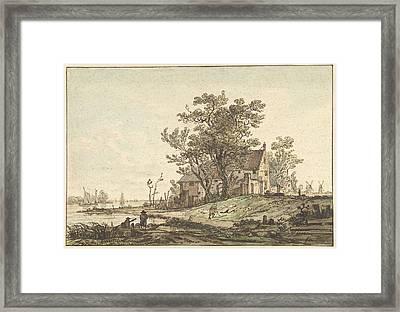 Old Farmhouse On A River, Jacob Van Strij Framed Print