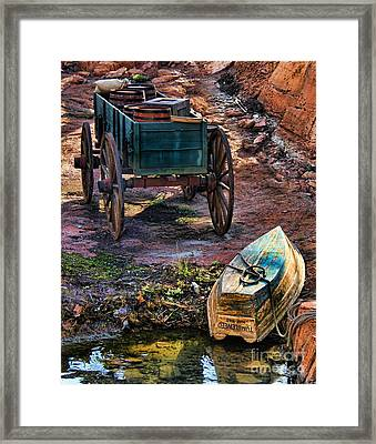 Old Fashion Cart And Boat  Framed Print by Lee Dos Santos